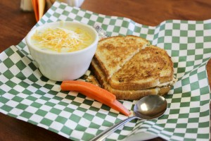 Grilled sandwich and soup at Rendezvous Restaurant