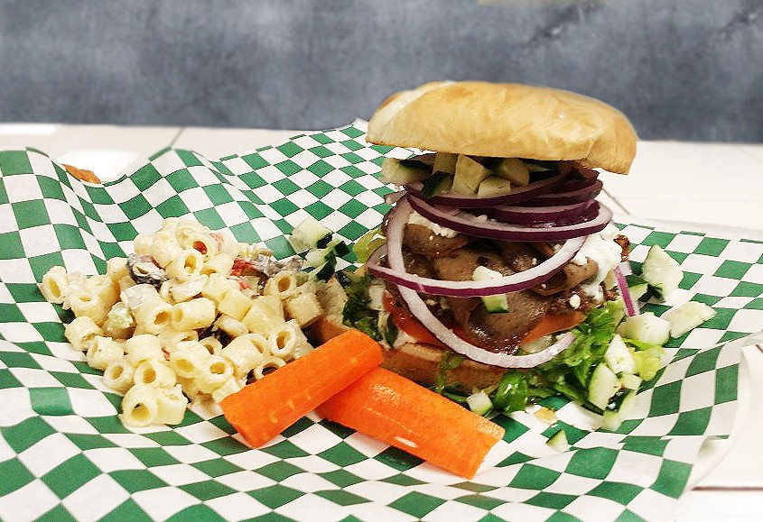 Hash Knife Burger with macaroni salad