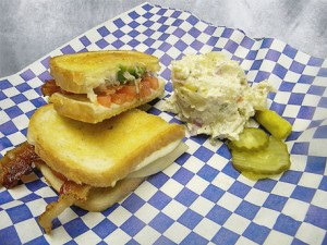 TBS turkey. bacon and Swiss sandwich with potato salad